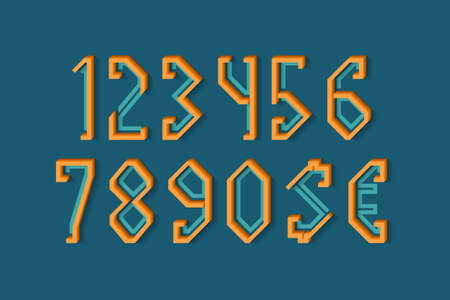 Frame-shaped orange blue numbers and currency signs of flat and volumetric parts. 3d display font.
