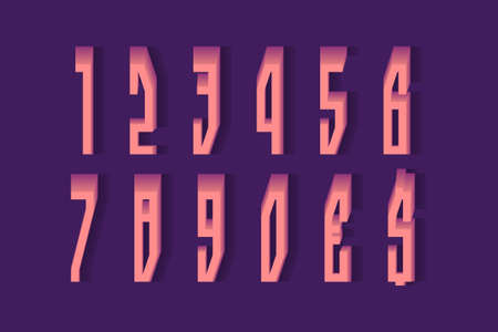 Volumetric coral pink numbers and currency signs. 3d display font in strict style.
