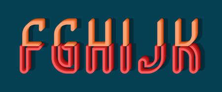 F, G, H, I, J, K orange red 3d letters of two parts. Urban volumetric font.