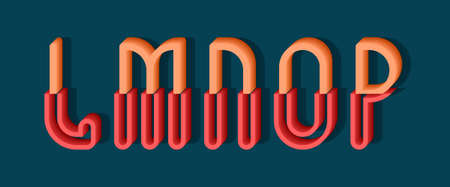 L, M, N, O, P orange red 3d letters of two parts. Urban volumetric font.