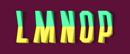 L, M, N, O, P yellow green 3d letters of two parts. Urban volumetric font.