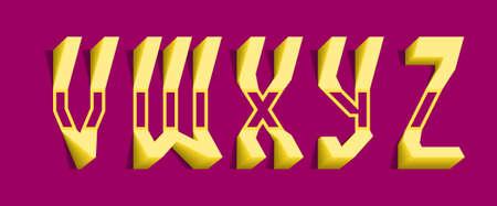 Yellow volumetric V, W, X, Y, Z letters. Freaky 3d font.