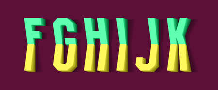 F, G, H, I, J, K yellow green 3d letters of two parts. Urban volumetric font.
