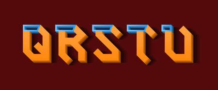 Orange blue Q, R, S, T, U 3d letters. Decorative volumetric font.