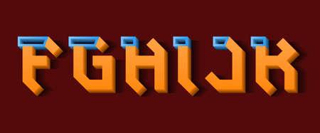Orange blue F, G, H, I, J, K 3d letters. Decorative volumetric font.