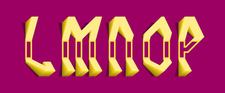 Yellow volumetric L, M, N, O, P letters. Freaky 3d font.