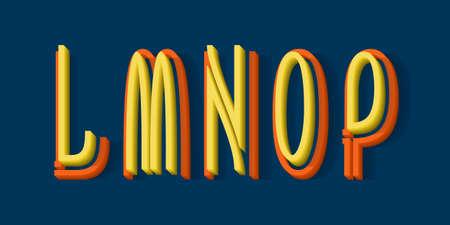 L, M, N, O, P orange yellow 3d letters of two parts. Urban volumetric split-level font.