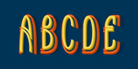 A, B, C, D, E orange yellow 3d letters of two parts. Urban volumetric split-level font.