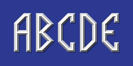 Metallic volumetric A, B, C, D, E letters. Prismatic 3d font.