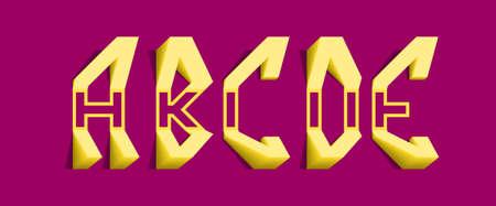 A, B, C, D, E yellow volumetric letters. Freaky 3d font. 向量圖像