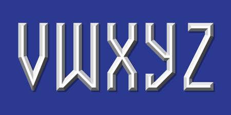Metallic volumetric V, W, X, Y, Z letters. Prismatic 3d font.