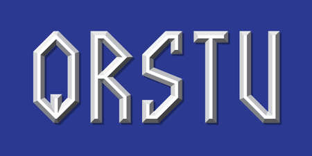Metallic volumetric Q, R, S, T, U letters. Prismatic 3d font. 向量圖像