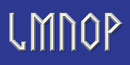 Metallic volumetric L, M, N, O, P letters. Prismatic 3d font.