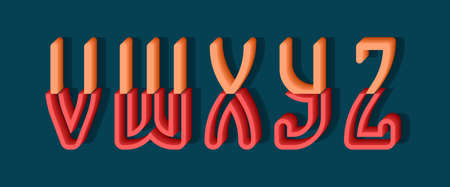 V, W, X, Y, Z orange red 3d letters of two parts. Urban volumetric font.