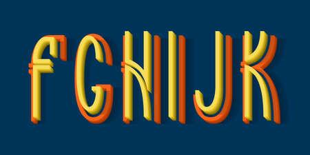F, G, H, I, J, K orange yellow 3d letters of two parts. Urban volumetric split-level font.