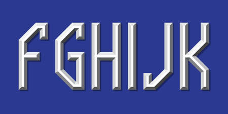 Metallic volumetric F, G, H, I, J, K letters. Prismatic 3d font. 向量圖像