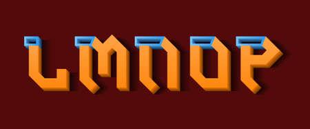 Orange blue L, M, N, O, P 3d letters. Decorative volumetric font. 向量圖像