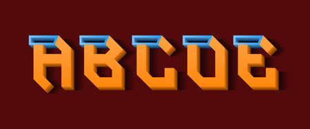 Orange blue A, B, C, D, E 3d letters. Decorative volumetric font.