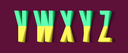 V, W, X, Y, Z yellow green 3d letters of two parts. Urban volumetric font.