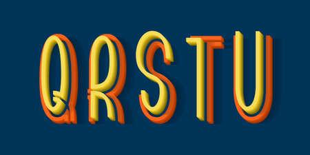 Q, R, S, T, U orange yellow 3d letters of two parts. Urban volumetric split-level font.