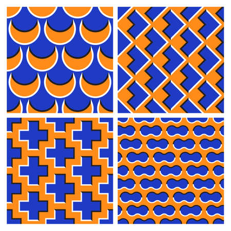 Set of orange blue optical illusion seamless patterns of moving sickles, arrows, crosses and clouds shapes.