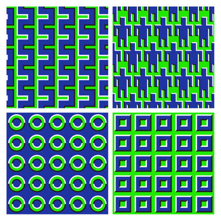 Set of green blue optical illusion seamless patterns of moving broken stripes, people symbols, rings and squares shapes.