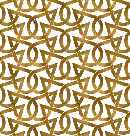 Abstract repeatable pattern background of golden twisted bands. Swatch of shapes plexus in drops form. Seamless pattern in modern style. Vector Illustration