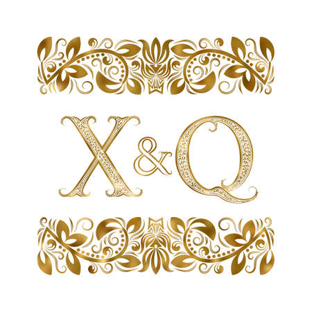 X and Q initials vintage logo. The letters surrounded by ornamental elements. Wedding or business partners monogram in royal style.