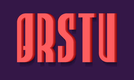 Q, R, S, T, U red bold 3d letters. Volumetric stylish sans serif font with shadow.