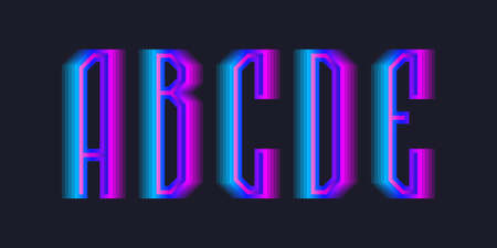 A, B, C, D, E stepped letters of blue pink gradient. Luminous display font.