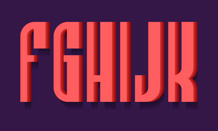 F, G, H, I, J, K red bold 3d letters. Volumetric stylish sans serif font with shadow. 矢量图像