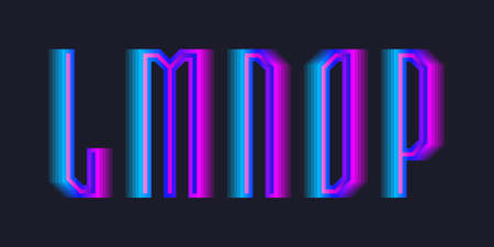 L, M, N, O, P stepped letters of blue pink gradient. Luminous display font.