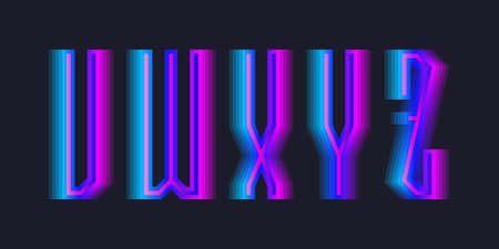 V, W, X, Y, Z stepped letters of blue pink gradient. Luminous display font. 免版税图像 - 158465761