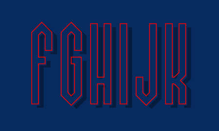 F, G, H, I, J, K red blue high angular letters with shifted stroke and shadow. Urban graphic font.