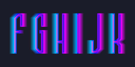 F, G, H, I, J, K stepped letters of blue pink gradient. Luminous display font.