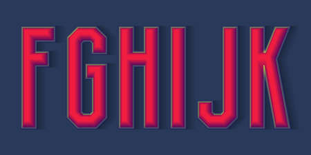F, G, H, I, J, K red 3d letters with shadow. Volumetric display font. 免版税图像 - 158465768