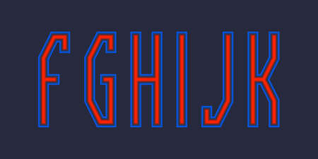 F, G, H, I, J, K red blue luminous letters. Urban vibrant font.