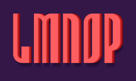 L, M, N, O, P red bold 3d letters. Volumetric stylish sans serif font with shadow.