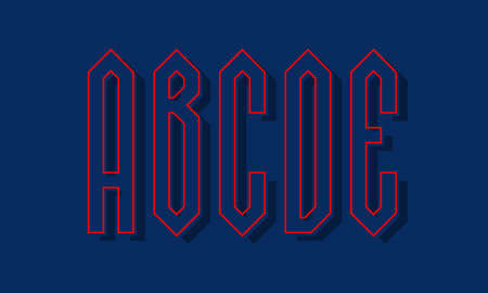 A, B, C, D, E red blue high angular letters with shifted stroke and shadow. Urban graphic font. 矢量图像