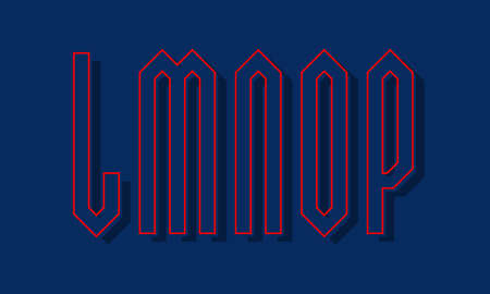 L, M, N, O, P red blue high angular letters with shifted stroke and shadow. Urban graphic font.