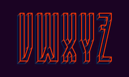 V, W, X, Y, Z orange blue wireframe 3d letters. Volumetric strict angular luminous font.
