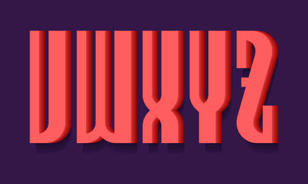 V, W, X, Y, Z red bold 3d letters. Volumetric stylish sans serif font with shadow.