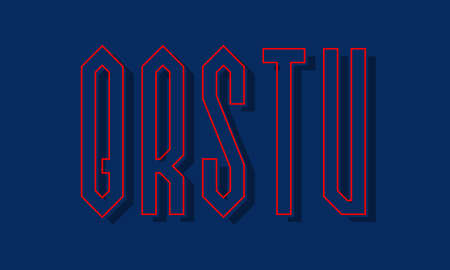 Q, R, S, T, U red blue high angular letters with shifted stroke and shadow. Urban graphic font.
