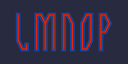L, M, N, O, P red blue luminous letters. Urban vibrant font. 免版税图像 - 158465780