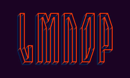 L, M, N, O, P orange blue wireframe 3d letters. Volumetric strict angular luminous font.