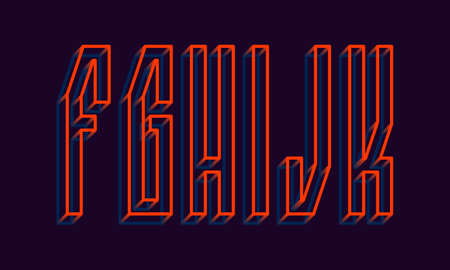 F, G, H, I, J, K orange blue wireframe 3d letters. Volumetric strict angular luminous font.