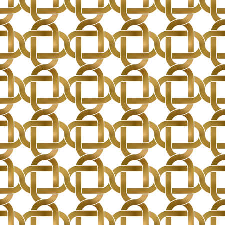 Abstract repeatable pattern background of golden twisted bands. Swatch of gold intertwined curved bands in links form. Seamless pattern in modern style. 矢量图像