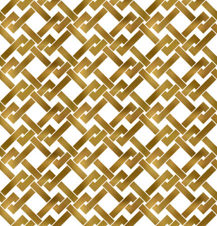 Abstract repeatable pattern background of golden twisted strips. Swatch of gold intertwined zigzag bands. Seamless pattern in modern style. 免版税图像 - 158698226