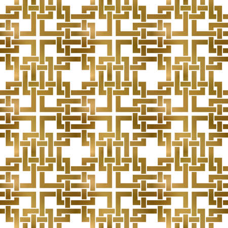 Abstract repeatable pattern background of golden twisted strips. Swatch of gold intertwined bands. Seamless pattern in modern style. 矢量图像