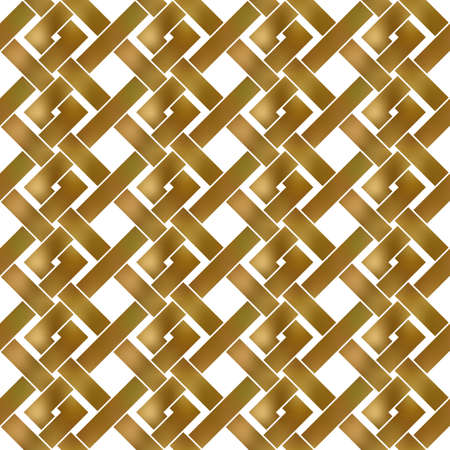 Abstract repeatable pattern background of golden twisted strips. Swatch of gold intertwined zigzag bands. Seamless pattern in modern style. 矢量图像